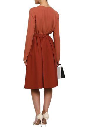 VALENTINO Gathered printed wool and silk-blend skirt
