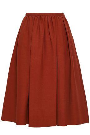 VALENTINO ギャザー入り プリント ウール&シルク混 スカート