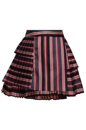 ZIMMERMANN Pleated striped cotton-blend twill mini skirt