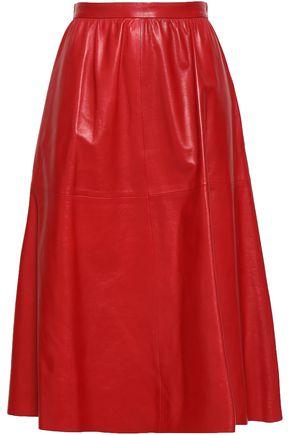 VALENTINO Gathered leather skirt