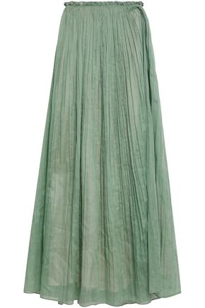 VALENTINO Plissé-cotton maxi skirt