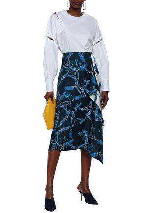 TIBI Asymmetric printed silk-twill skirt