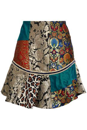 ALICE + OLIVIA Eriko patchwork brocade, printed crepe and satin mini skirt