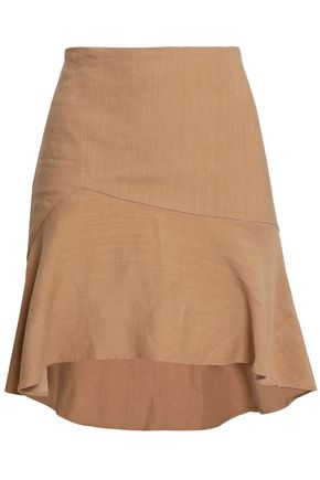 ALICE + OLIVIA Steffe asymmetric linen-blend mini skirt