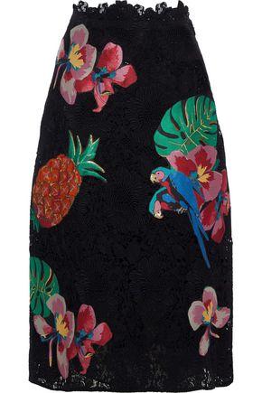 VALENTINO Appliquéd cotton-blend guipure lace skirt