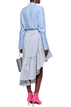 MARQUES' ALMEIDA Ruffled mélange cotton-blend poplin skirt