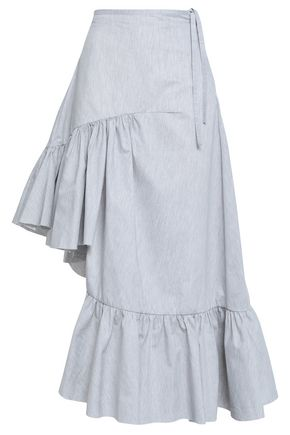 MARQUES' ALMEIDA Ruffled mélange cotton-blend poplin skirt