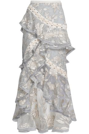 ZIMMERMANN Wrap-effect embroidered silk-organza skirt