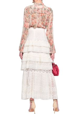 ZIMMERMANN Maples Freedom split-front tiered embroidered organza maxi skirt