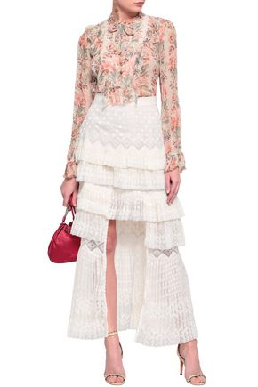 ef447e708216e ZIMMERMANN Maples Freedom split-front tiered embroidered organza maxi skirt