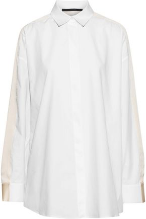 HAIDER ACKERMANN Oversized silk satin-trimmed poplin shirt