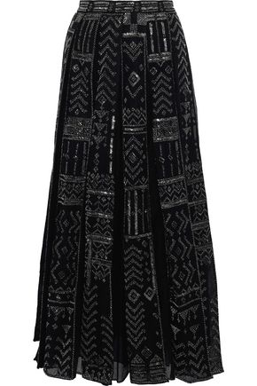 VALENTINO Embellished wool and silk-blend mesh maxi skirt