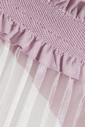 MAJE Pleated striped iridescent woven midi skirt