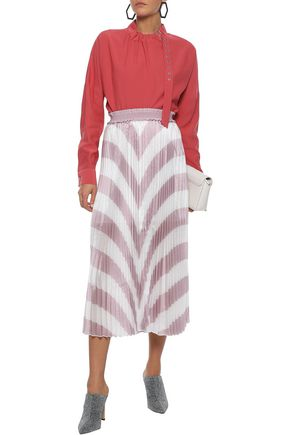 the cheapest size 7 super specials Pleated striped iridescent woven midi skirt | MAJE | Sale up ...