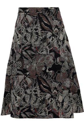 VALENTINO Metallic jacquard-knit skirt