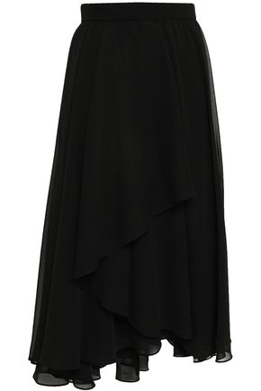 MIKAEL AGHAL Asymmetric layered georgette midi skirt