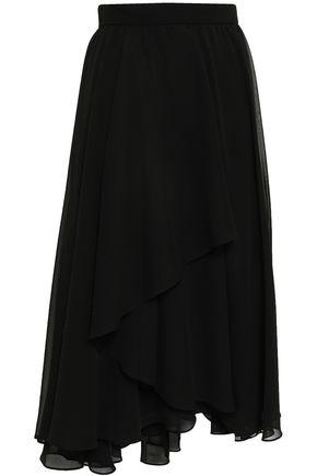 MIKAEL AGHAL Asymmetric layered georgette midi skirt