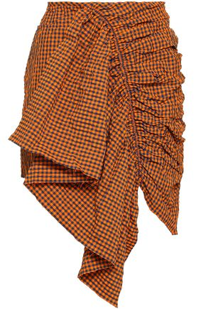 MARQUES' ALMEIDA Ruffled gingham seersucker mini skirt