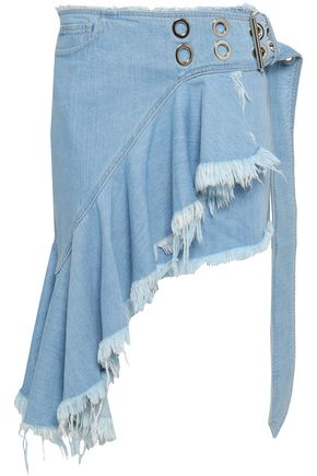 MARQUES' ALMEIDA Frayed denim mini wrap skirt