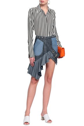MARQUES' ALMEIDA Embellished frayed denim mini wrap skirt