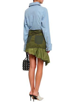 MARQUES' ALMEIDA Embellished satin-trimmed woven mini wrap skirt