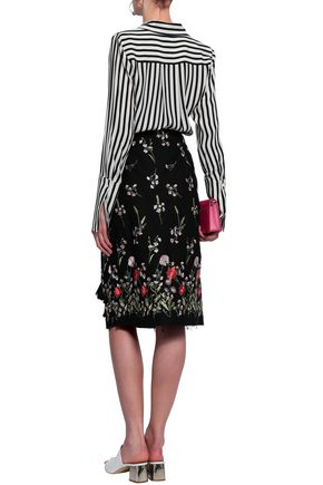 MARQUES' ALMEIDA Ruffle-trimmed cutout embroidered cotton-blend skirt