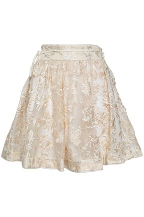 ZIMMERMANN Fluted embroidered silk-organza mini skirt