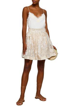 ZIMMERMANN Embroidered silk-organza mini skirt