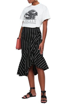 ZIMMERMANN Asymmetric fluted striped cotton-blend skirt