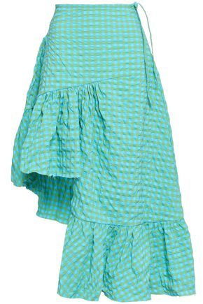 MARQUES' ALMEIDA Asymmetric ruffled gingham seersucker skirt