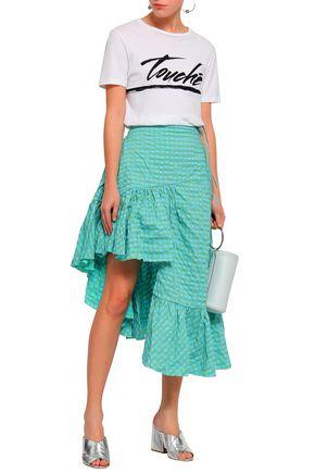 MARQUES' ALMEIDA Asymmetric ruffled gingham seersucker skirt