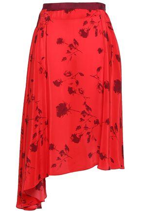 PREEN LINE Yolanda asymmetric floral-print satin-crepe midi skirt