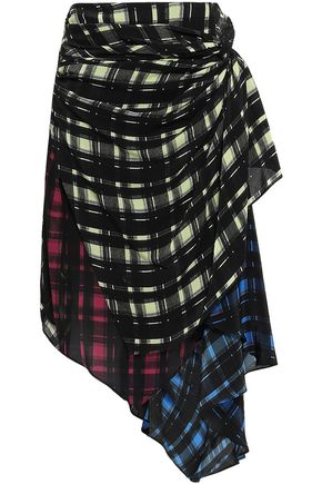PREEN LINE Halu asymmetric layered checked crepe de chine midi skirt