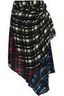 PREEN LINE Halu asymmetric layered checked crepe de chine midi skirt