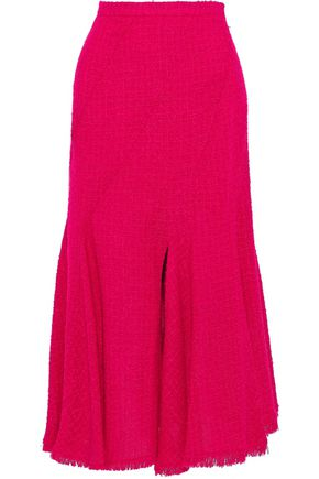 OSCAR DE LA RENTA Fluted wool-blend bouclé-tweed midi skirt