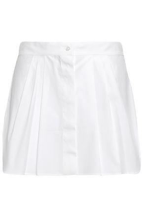 OSCAR DE LA RENTA Pleated cotton-blend poplin mini skirt