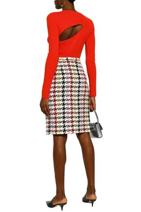 OSCAR DE LA RENTA Houndstooth wool-blend tweed pencil skirt