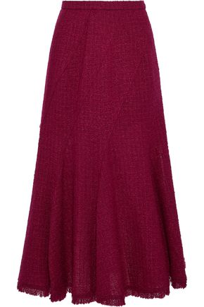 OSCAR DE LA RENTA Fluted wool-blend bouclé-tweed midi skirt