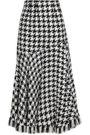 OSCAR DE LA RENTA Houndstooth wool-blend midi skirt