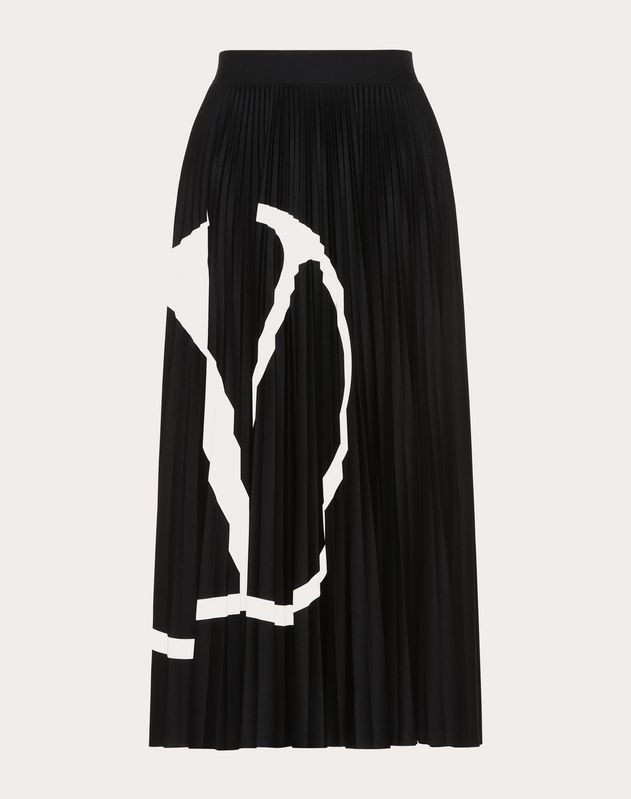 Go Logo Pleated Jersey Skirt