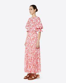 Graphic Elder Crepe de Chine Pleated Skirt