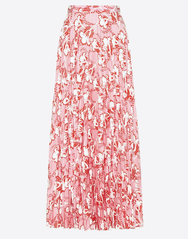 Graphic Elder Crepe de Chine Pleated Skirt