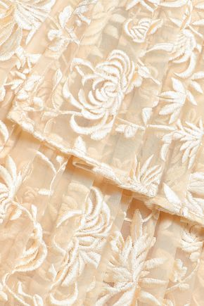 ZIMMERMANN Maples Freedom tiered embroidered organza mini skirt