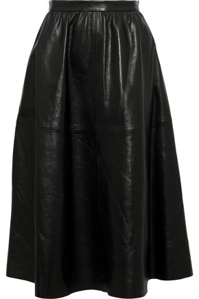 VALENTINO Gathered leather skirt