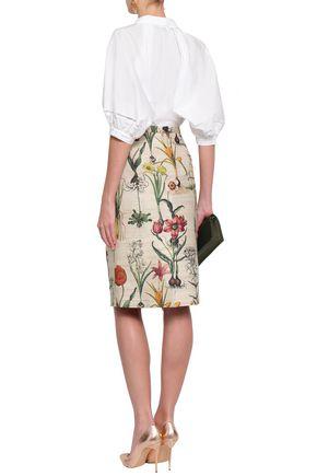 OSCAR DE LA RENTA Printed silk-blend pencil skirt
