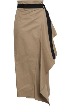 BRUNELLO CUCINELLI Draped cotton-blend midi wrap skirt