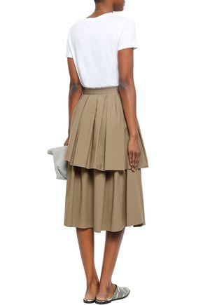 BRUNELLO CUCINELLI Bead-embellished layered cotton-blend poplin midi skirt