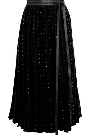 VALENTINO Crystal-embellished wool-felt midi wrap skirt