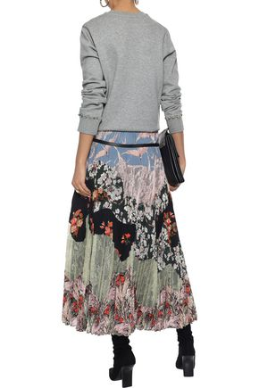 VALENTINO Pleated lace and printed silk crepe de chine maxi skirt