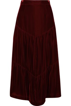 SAINT LAURENT Tiered gathered velvet midi skirt